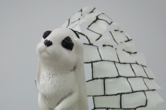 """""""Ghost Rabbit and the Frost,"""" 2014, wood, PLA plastic, glass, ceramic"""