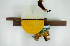 """Triple Colt,"" 2014, PLA plastic, wood, acrylic"