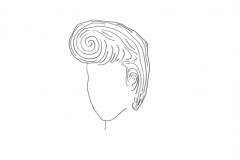 Pompadour, Question Mark, pencil on paper, 11 x 8 1/2 inches