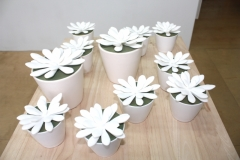 Crassulas, 2013, 3D printed nylon plastic, floral foam, ceramic pot