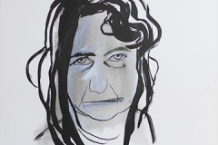 Bed Head, 2014, ink and gesso on paper