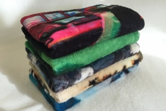 """Security Blankets"" by David Howe and Anita Cruz-Eberhard, dye sublimation printed polyester superfleece"